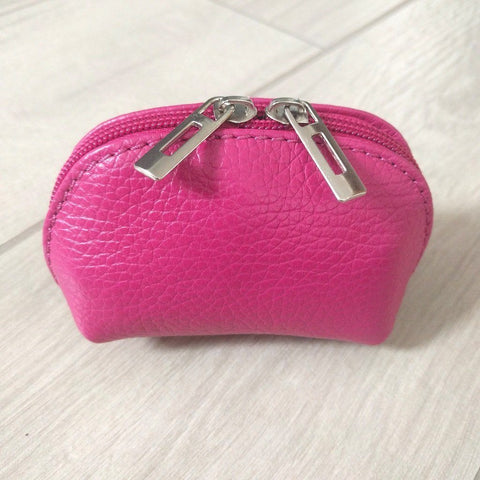Genuine leather coin purse in pink