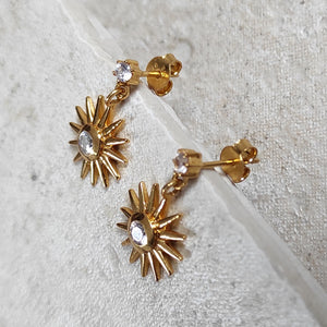 Ray Earrings in Crystal Clear - side view