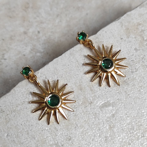 Image of Ray Earrings in Emerald Green