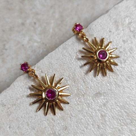 Image of Ray Earrings in Ruby Red