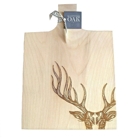 Image of Scottish sycamore cutting or serving board with engraved majestic stag decoration on white background