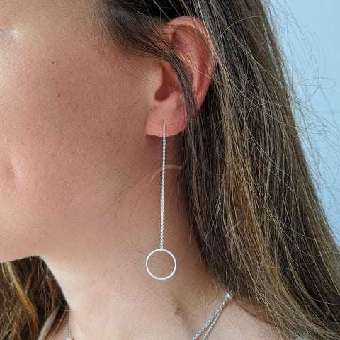 Sterling Silver Circle Earrings on Model