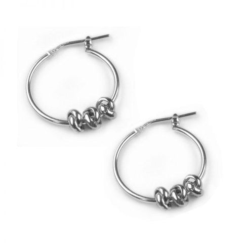 Sterling Silver Hoop Earrings With Three Silver Knots
