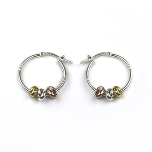 Sterling Silver Three Knot Hoop Earrings