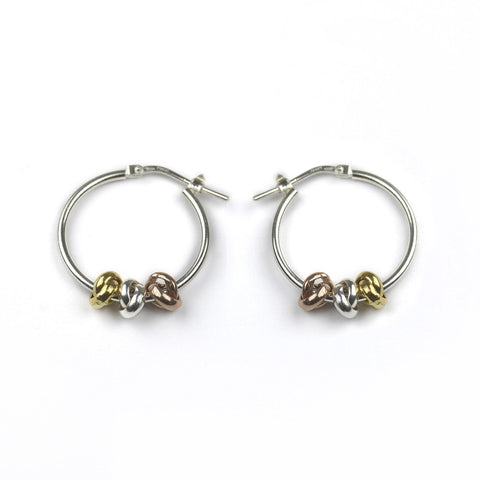 Image of Sterling Silver Three Knot Hoop Earrings