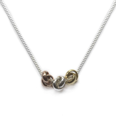 Sterling Silver Three Knot Necklace
