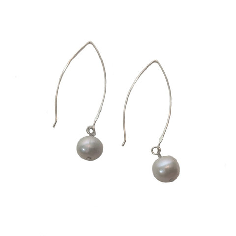 Sterling silver long wishbone drop earrings with grey coloured pearl drops on a white background