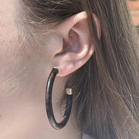 Image of Slim Hoop Earrings - Silver & Rosewood - Model