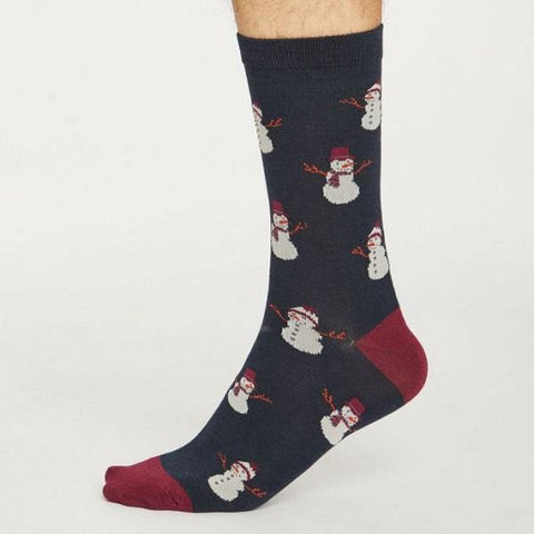 Bamboo Christmas Snowmen Socks - Navy - side view