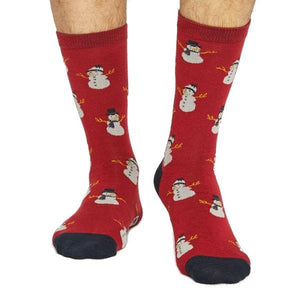 Bamboo Christmas Snowmen Socks - Red - front view