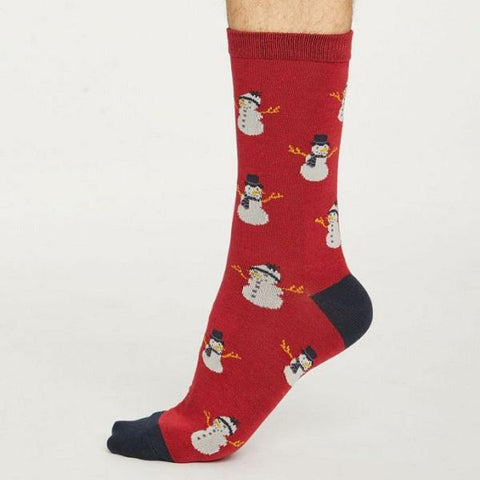 Bamboo Christmas Snowmen Socks - Red - side view