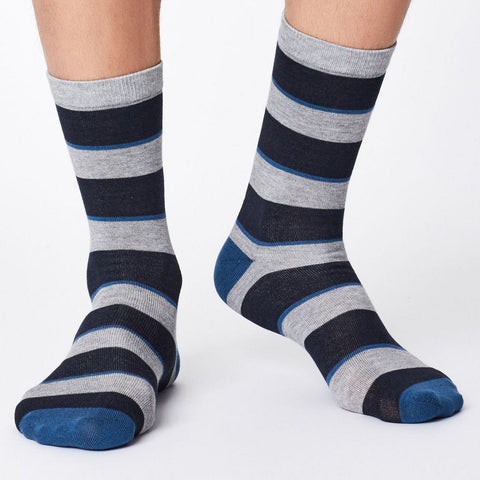 Elfield striped soft & breathable bamboo socks in navy