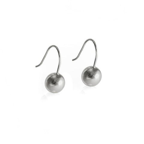 Small sterling silver sphere hook earrings
