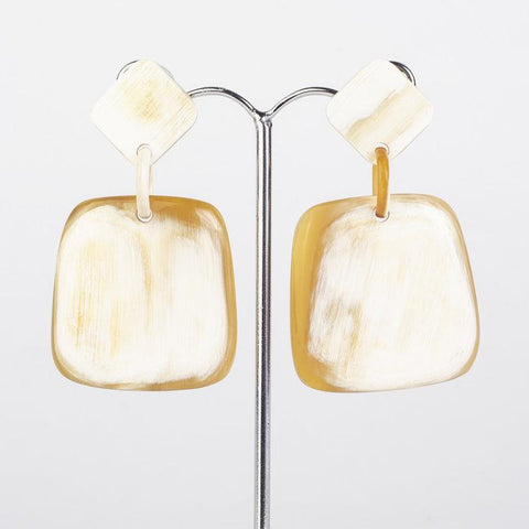 Water buffalo horn square earrings on diamond posts