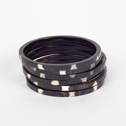 Water buffalo dark horn stacking 5 bangle set with white spots