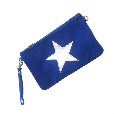 Image of Italian suede leather clutch bag with shiny metallic leather star in blue on a white background