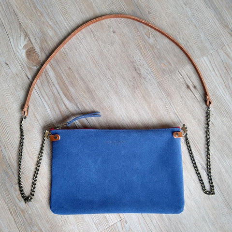 Image of Blue Suede Cross Body Pouch Bag