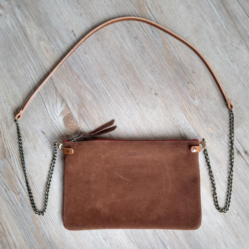 Chestnut Suede Cross Body Pouch Bag