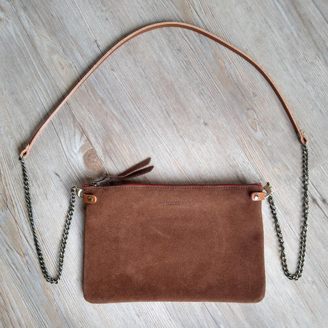 Image of Chestnut Suede Cross Body Pouch Bag