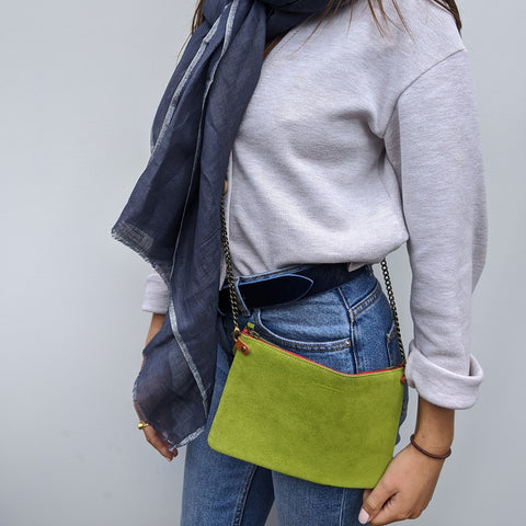 Image of Lime Suede Cross Body Pouch Bag - Model
