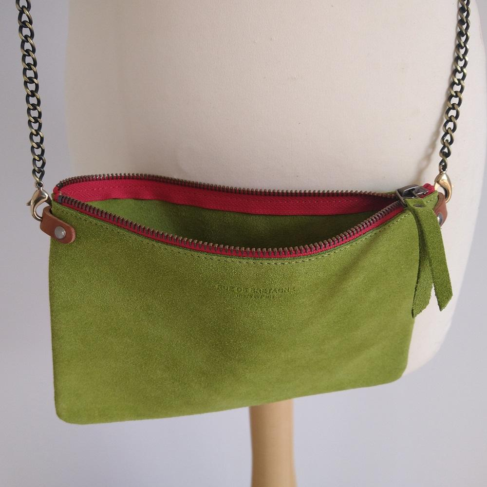 Lime Suede Cross Body Pouch Bag - Open