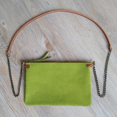 Lime Suede Cross Body Pouch Bag