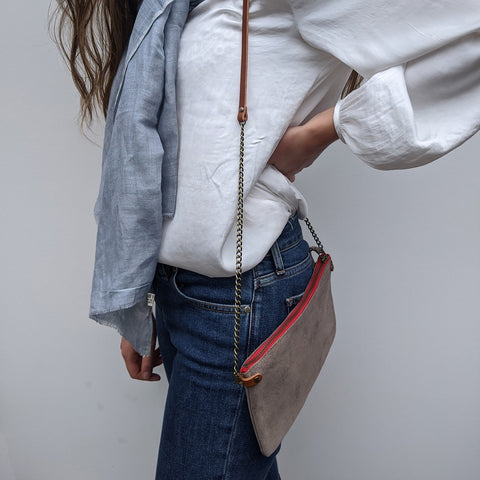 Image of Light Grey Suede Cross Body Pouch Bag - Model 2