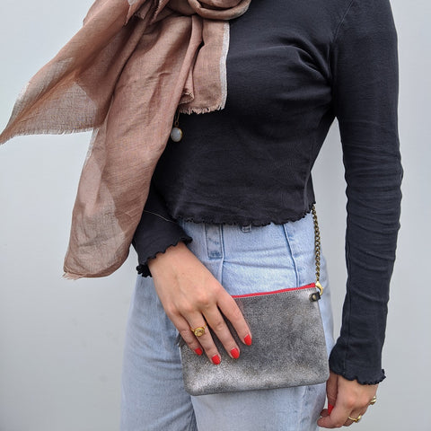 Image of Light Grey Suede Cross Body Pouch Bag - Model
