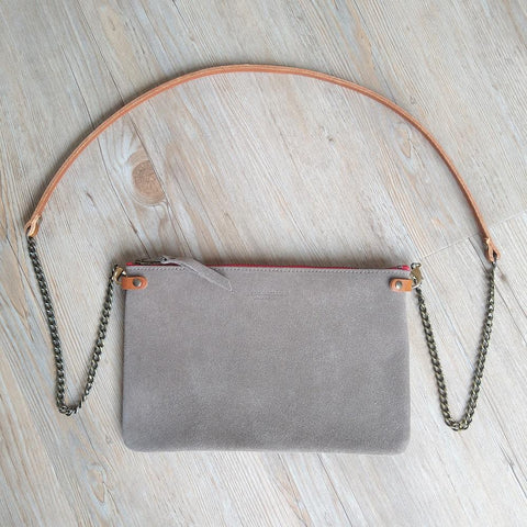 Image of Mid Grey Suede Cross Body Pouch Bag
