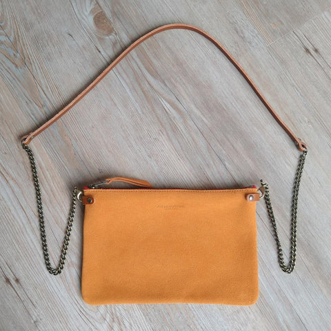 Orange Suede Cross Body Pouch Bag