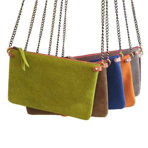 Image of Suede Cross Body Pouch Bag - Selection of Colours