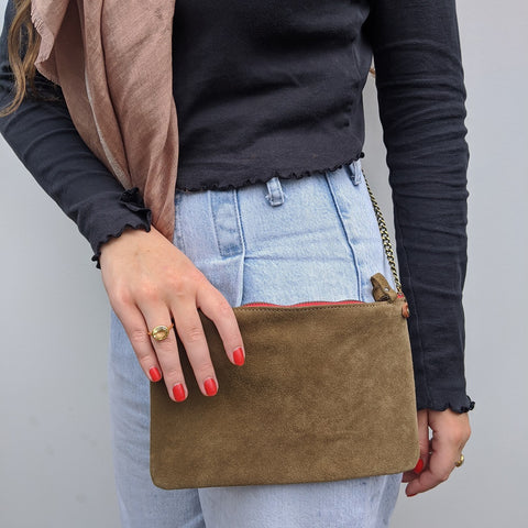 Image of Taupe Suede Cross Body Pouch Bag - Model