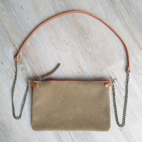 Taupe Suede Cross Body Pouch Bag