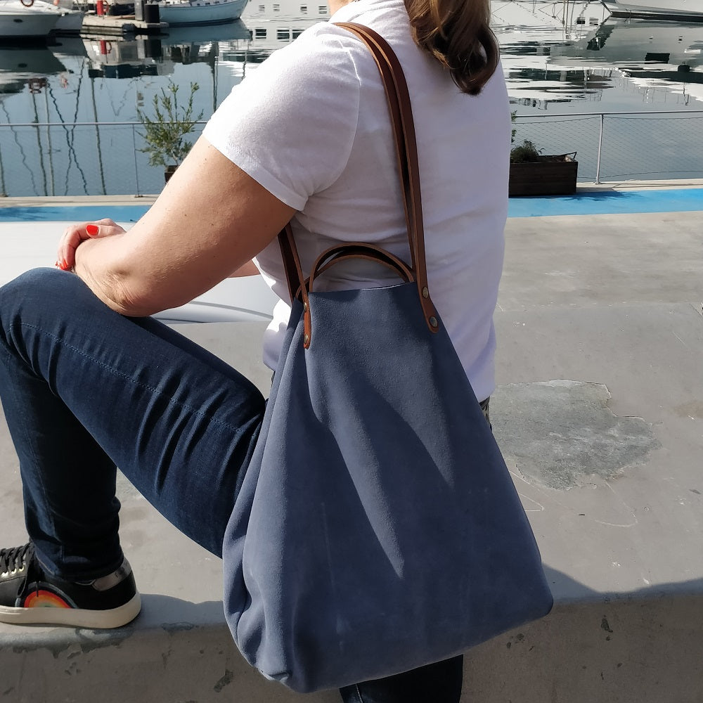 Blue Suede Shoulder or Handheld Tote Bag on Model 1