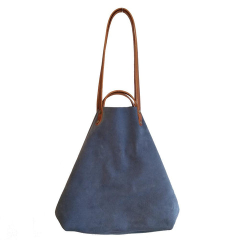 Image of Blue Suede Shoulder or Handheld Tote Bag