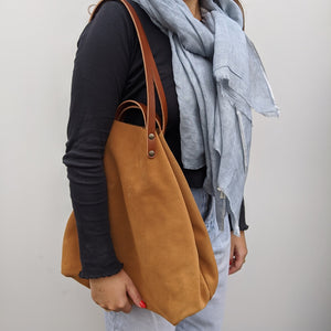 Camel Suede Shoulder or Handheld Tote Bag on Model 1