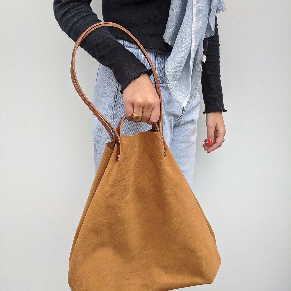 Camel Suede Shoulder or Handheld Tote Bag on Model 2