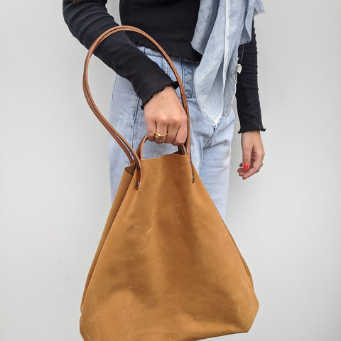 Image of Camel Suede Shoulder or Handheld Tote Bag on Model 2