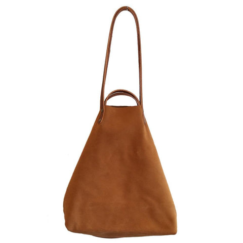 Image of Camel Suede Shoulder or Handheld Tote Bag