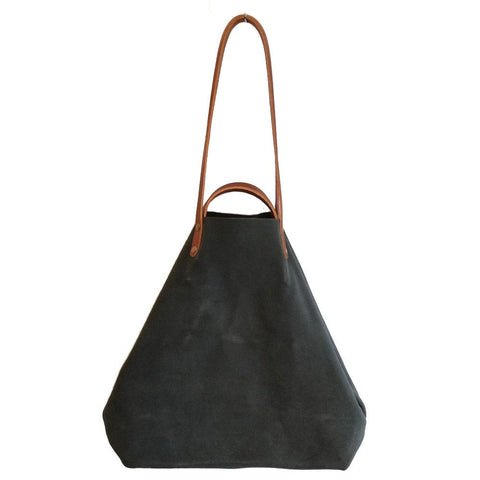 Grey Suede Shoulder or Handheld Tote Bag