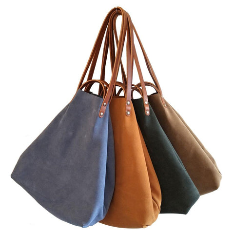 Image of Suede Shoulder or Handheld Tote Bag - Selection of Colours