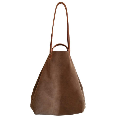 Taupe Suede Shoulder or Handheld Tote Bag