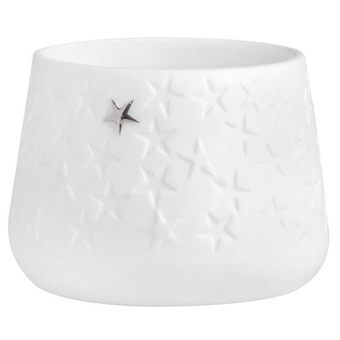White porcelain tealight candle holder with stars pattern