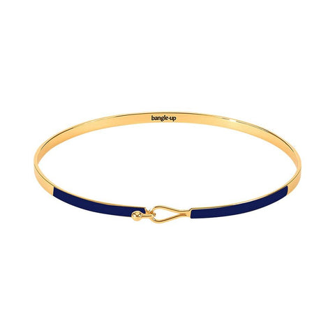 Image of  Thin Enamel Clasp Bracelet in Navy Blue