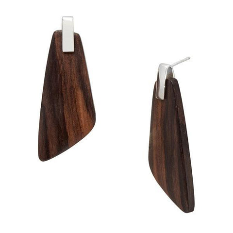 Trapezium Earrings - Silver & Rosewood