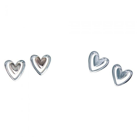 Sterling silver solid heart stud earrings with larger silhouettes around the outside in silver or rose gold plate
