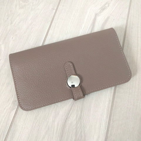 Genuine Italian leather travel wallet or purse with multi compartments in taupe
