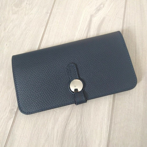 Genuine Italian leather travel wallet or purse with multi compartments in navy