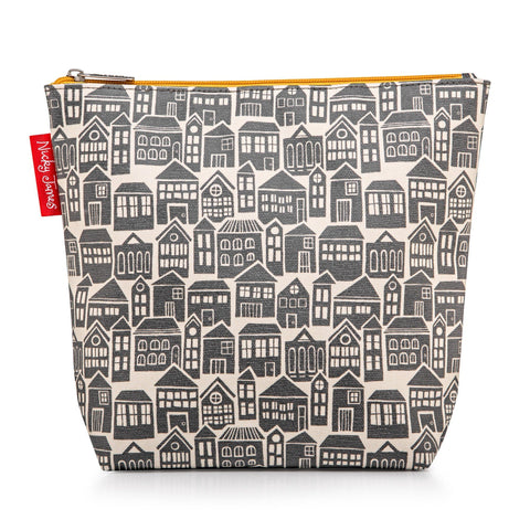 Large wash bag in bold About Town print