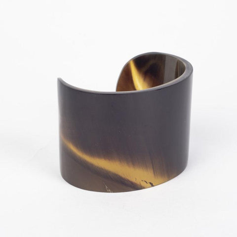 Water buffalo plain horn wide cuff bracelet